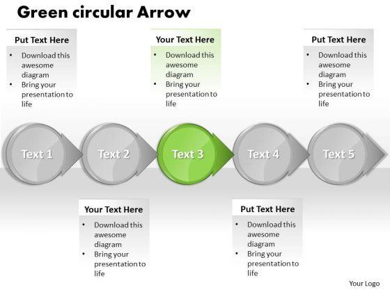 ppt green circular motion powerpoint arrow process flow charts