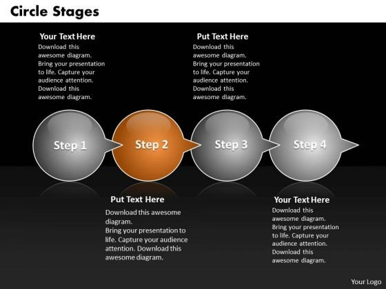 Ppt Half Circle PowerPoint 2010 Stage Through Bubbles 4 Steps Templates
