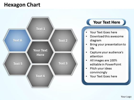 Ppt Hexagon Shapes Chart Editable Layouts PowerPoint 2003 2010 Templates