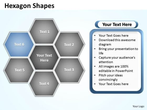 Ppt Hexagon Shapes Chart Editable PowerPoint Templates 2003 Business