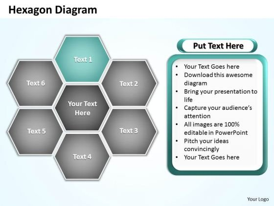 Ppt Hexagon Shapes Diagram Editable PowerPoint Certificate Templates