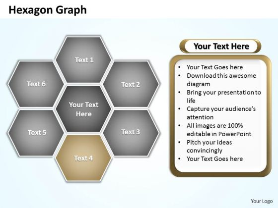 Ppt Hexagon Shapes Graph Editable PowerPoint Templates 2010