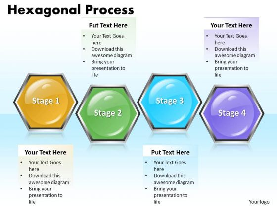 Ppt Hexagonal Process 4 State PowerPoint Template Diagram Templates