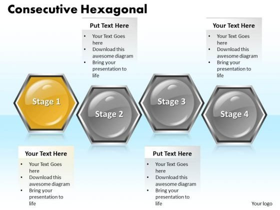 Ppt Hexagonal Text Boxes PowerPoint Template 4 Stage Templates