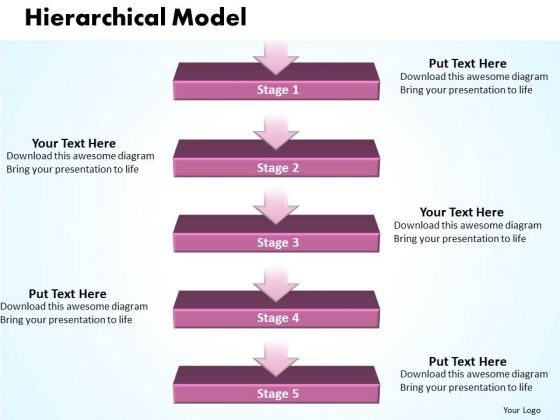 Ppt Hierarchical Model Of 5 Stages PowerPoint Templates