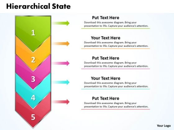 Ppt Hierarchical State PowerPoint Project Diagram Represented By Arrow Templates