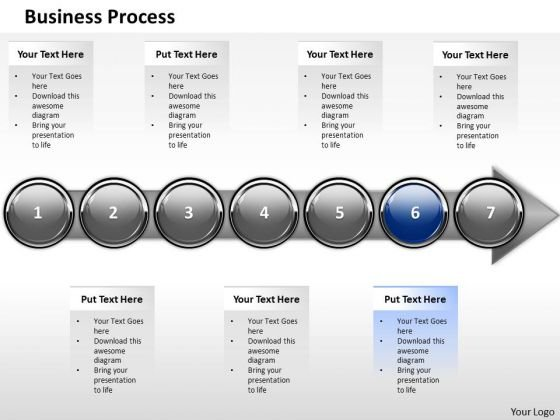 Ppt Horizontal Demonstration Of Business PowerPoint Theme Process Stage 6 Templates