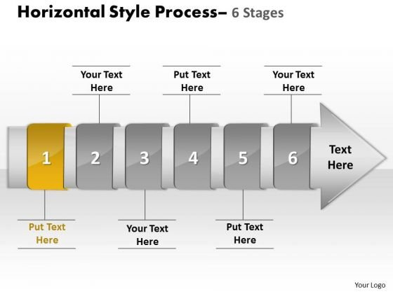 Ppt Horizontal Flow Of 6 Stage Diagram Marketing Presentation PowerPoint 2 Graphic