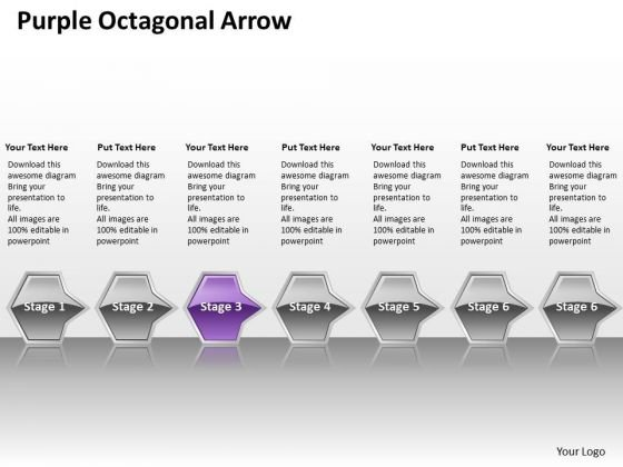 Ppt Horizontal Flow Of Purple Octagonal Arrow 7 Power Point Stage PowerPoint Templates