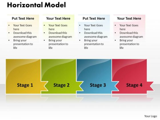 Ppt Horizontal Model Of 4 Concepts PowerPoint Templates