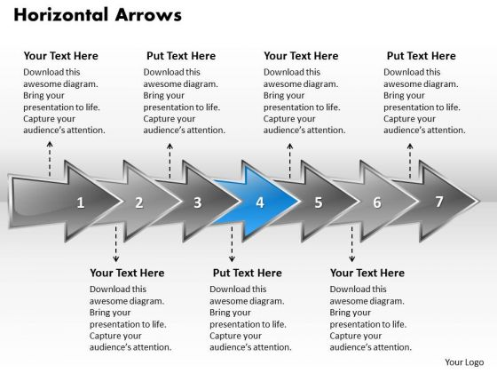 Ppt Horizontal PowerPoint Graphics Arrows Describing Seven Aspects Templates