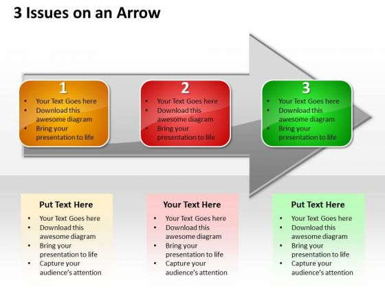 Ppt Horizontal Representation Of 3 Issues An Arrow PowerPoint Templates