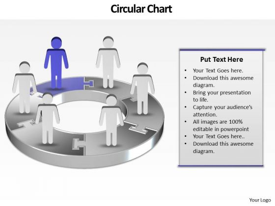 Ppt Illustration Of 3d Pie Org Chart PowerPoint 2007 With Standing Busines Men Templates