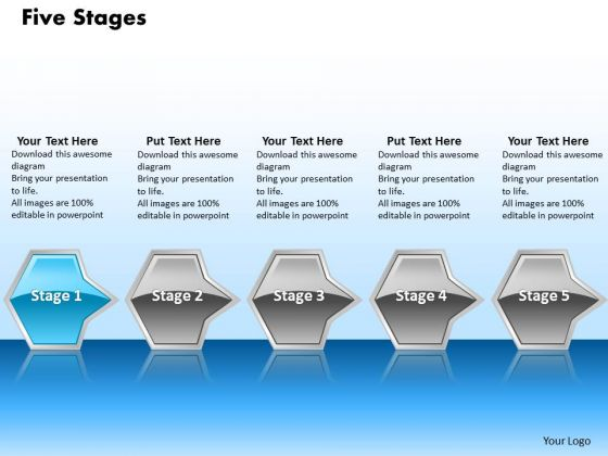 Ppt Interminable Flow Of Octagonal 3d Arrows PowerPoint 5 Stages Blue Templates