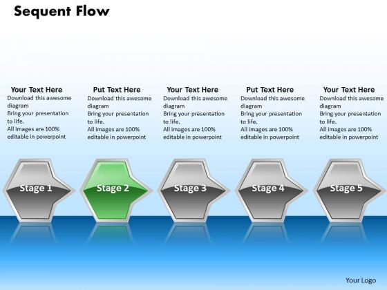 Ppt Interminable Flow Of Sequential Arrows 5 Power Point Stage Green PowerPoint Templates