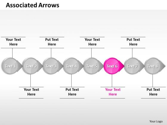 Ppt Intertwined Circular Arrows Straight Line 8 Stages Pink PowerPoint Templates