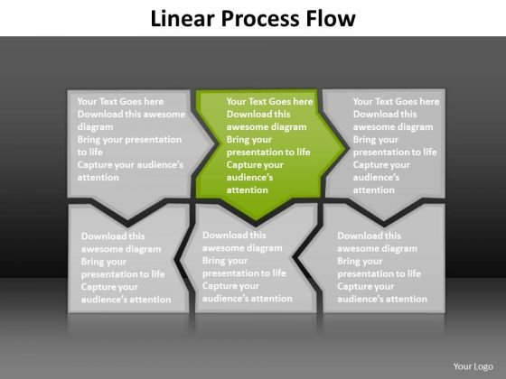 Ppt Light Green Piece Lotus Connections In Linear Process Flow PowerPoint Templates