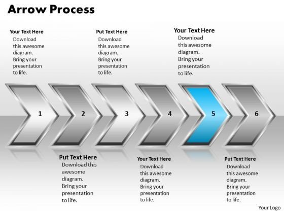 Ppt Linaer Arrow Business PowerPoint Theme Process 6 Stages Templates