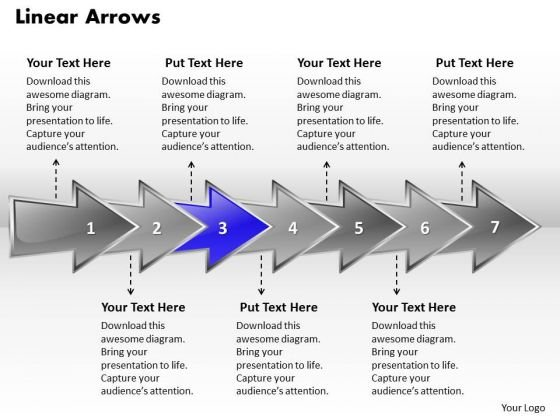 Ppt Linear 3d Arrows PowerPoint Describing Seven Aspects Templates
