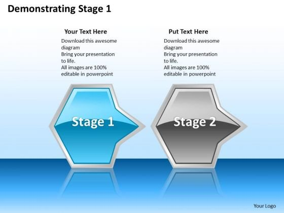 Ppt Linear Abstraction Of Octagonal Arrows Stage 1 Blue PowerPoint Templates