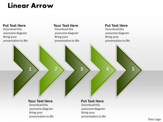 Ppt Linear Arrow-5 State Diagram PowerPoint Templates