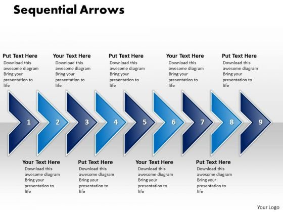 Ppt Linear Arrow 9 State PowerPoint Presentation Diagram Templates