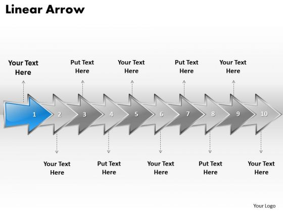 Ppt Linear Arrow Business Forging Process PowerPoint Slides Using 10 Stages Templates