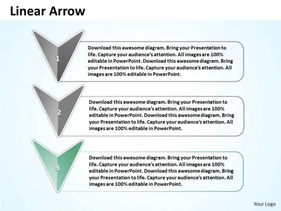 Ppt Linear Arrow With Text Align Boxes PowerPoint 2010 Templates