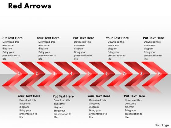Ppt Linear Arrows 9 State PowerPoint Presentation Diagram Templates