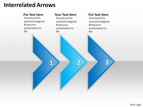 Ppt Linear Arrows Modifying Slide Layouts PowerPoint Three State Diagram Templates