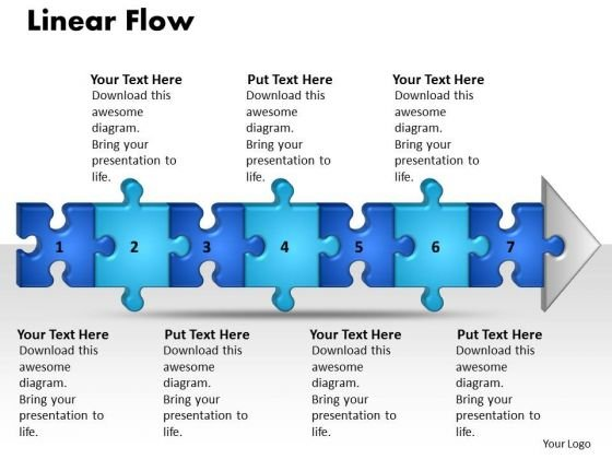 Ppt Linear Flow 7 Stages Style1 PowerPoint Templates