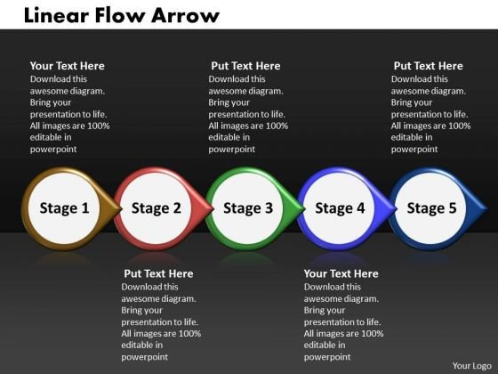 Ppt Linear Flow Arrow Business 5 Power Point Stage PowerPoint Templates