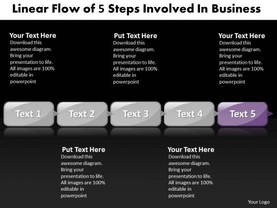 Ppt Linear Flow Of 5 Steps Involved Business PowerPoint Templates Download