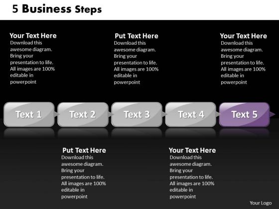 Ppt Linear Flow Of 5 Steps Involved New Business PowerPoint Presentation Templates