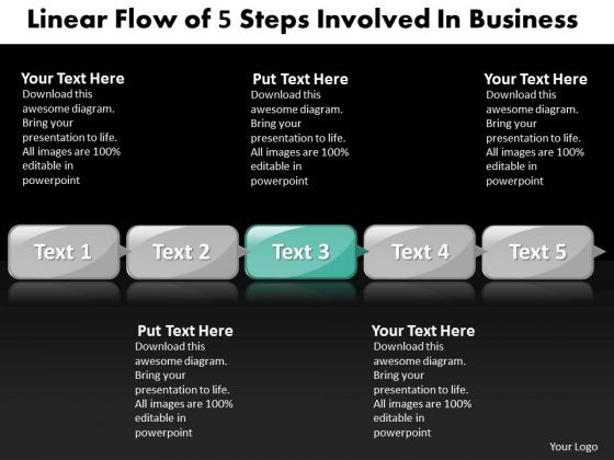 Ppt Linear Flow Of Five Practice The PowerPoint Macro Steps Templates