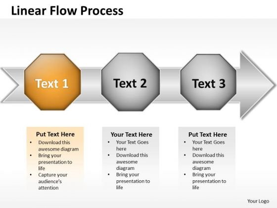 Ppt Linear Flow PowerPoint Theme Arrow Process Create Macro Templates