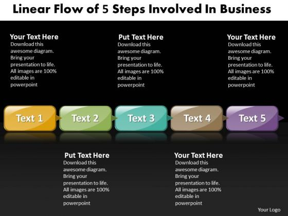 Ppt Linear Flow PowerPoint Theme Of 5 Steps Involved Business Templates