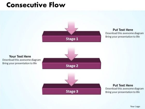 Ppt Linear Flow Process Charts 3 Stage PowerPoint Templates