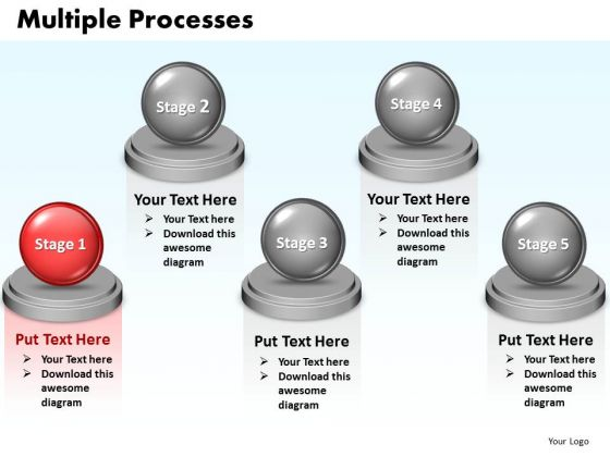 Ppt Multiple Processes Diagram 5 Stages Presentation 0812 PowerPoint Templates
