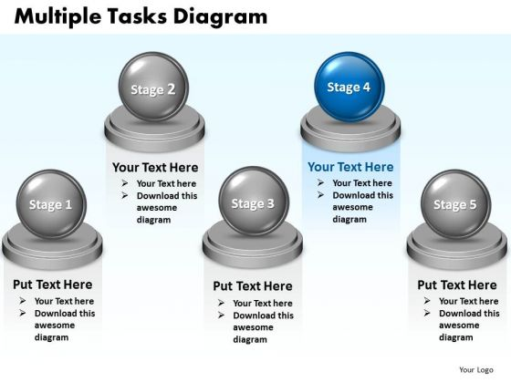 Ppt Multiple Tasks Layout 5 State Diagram PowerPoint Templates