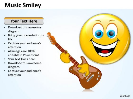 Ppt Music Smiley Emoticon With Guitar Communication Skills PowerPoint Templates