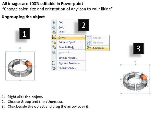 Ppt Orange Animated Text Box Cycle Spider Diagram Powerpoint