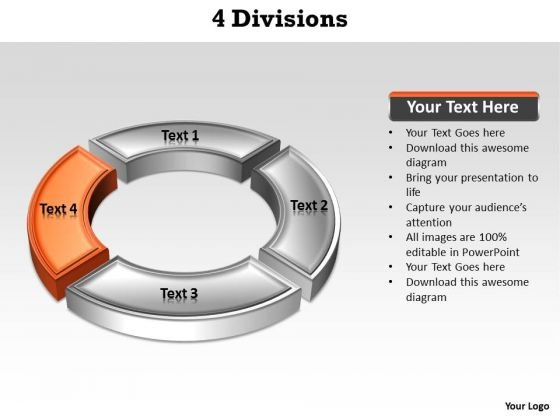 Ppt Orange Division Illustrating Four Issue PowerPoint Templates