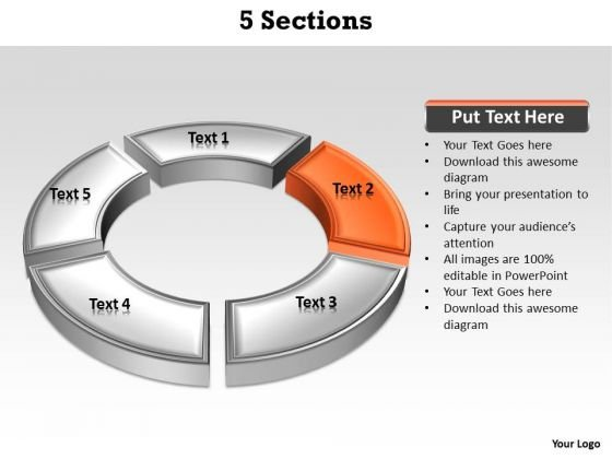 Ppt Orange Section Highlighted In PowerPoint Presentation Circular Manner Templates