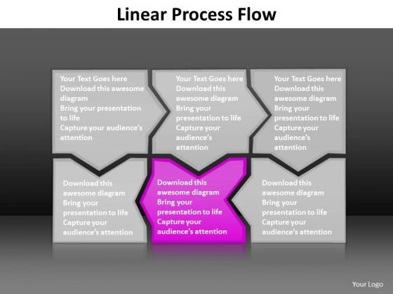 Ppt Pink Piece Incredible Connections Linear Process Flow PowerPoint Templates