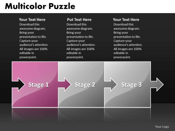 Ppt Pink Stage Multicolor Puzzle Diamond Mining Process PowerPoint Presentation Templates