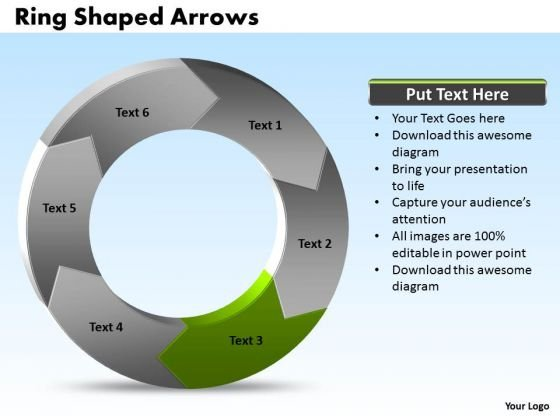 Ppt Power Point Org Chart Shaped Arrows 6 Segments PowerPoint Templates