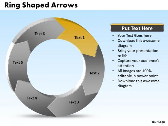 Ppt Power Point Org Chart Shaped Circular Arrows PowerPoint 2007 6 Sections Templates