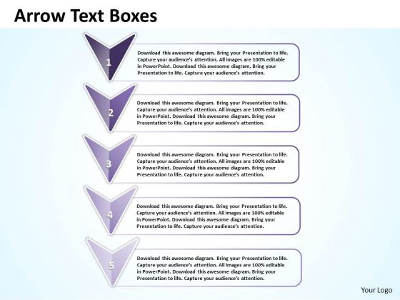 Ppt Purple Arrows Displaying Text Boxes PowerPoint Template Templates
