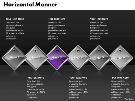 Ppt Purple Diamond Horizontal Manner 6 Practice The PowerPoint Macro Steps Templates
